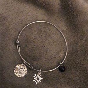 "Alex and Ani ""Make me happy"" Silver Bracelet"